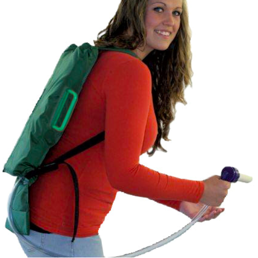Happy Employee using the Backpack for Feeding